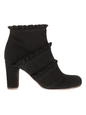 Chie Mihara Black suede Ankle boot with Ruffles details