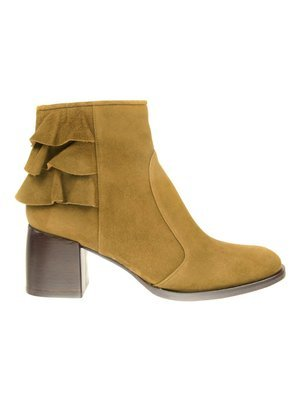 Chie Mihara Olive Suede Ankle boot with back Ruffles details