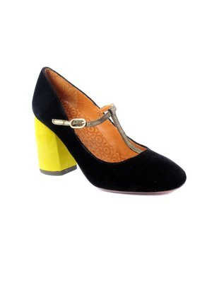 Chie Mihara Black Velvet Mary Jane with colored heel