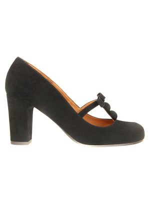 Chie Mihara Black Suede Pump with Bow Detail
