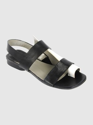 Ixos Black & White Leather Sandal