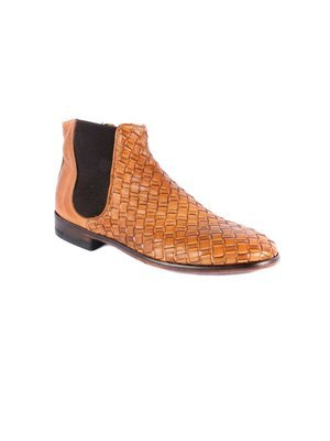Dip Dyed Buff Calf Brick Brown Woven Chelsea boot