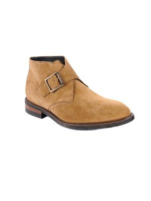 Monk strap Demi boot in Velour Burnt Taupe Suede