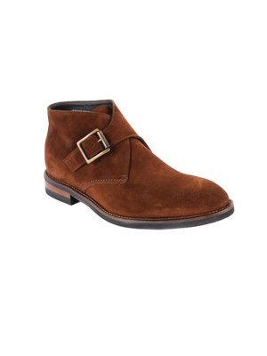 Monk strap Demi boot in Velour Burnt Brick Suede