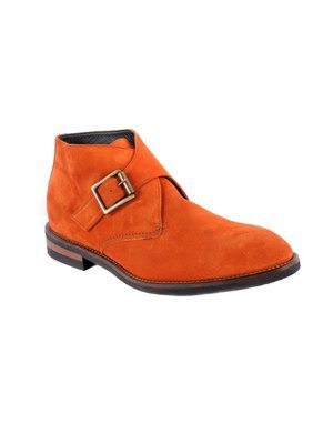 Monk strap Demi boot in Velour Burnt Orange Suede