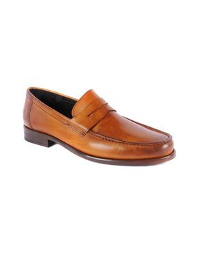 Calzoleria Toscana Hand Painted Dress Loafer in Dark Caramel
