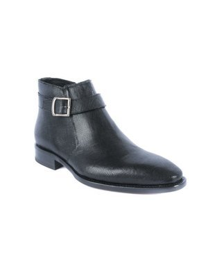 Calzoleria Toscana Black Demi Ankle boot in Saffiano Calf