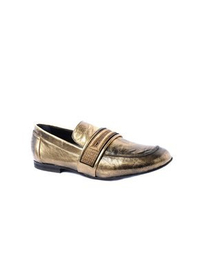 Elena Iachi Metallic Gold Moccasin in Washed leather