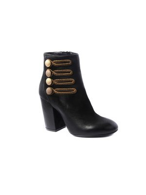 Elena Iachi Black Ankle boot Gold Embroidery