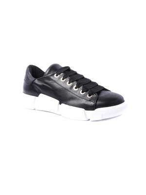 Elena Iachi Black Lace up Leather Sneaker