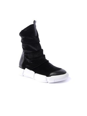 Elena Iachi Ankle Sneaker in Black Velvet Elastic and Leather