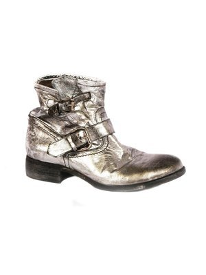 Elena Iachi Biker inspired Ankle boots in Silver Wash leather