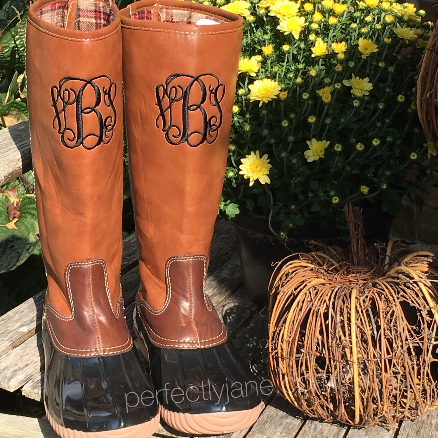 cd31e8346bcc1 Monogrammed Tall Duck Boots, Black