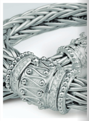 Heavy 18kt white gold braided necklace