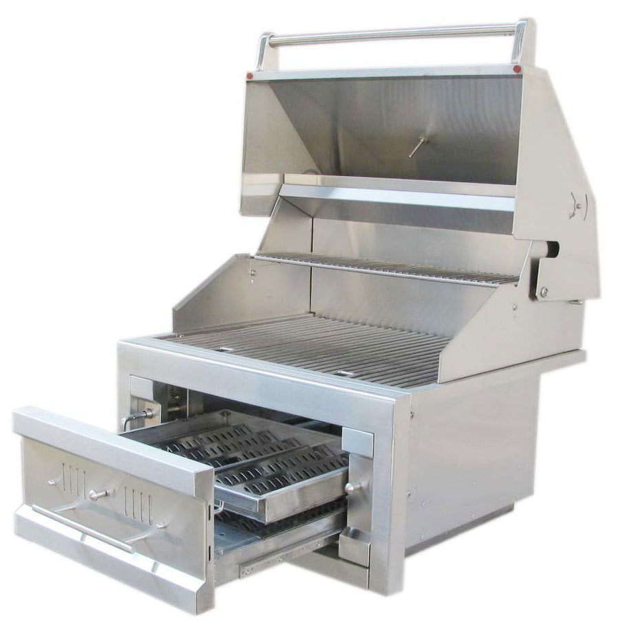 "28"" Single Zone 304 Stainless Steel Charcoal Grill - Item No. SUNCHDZ28"