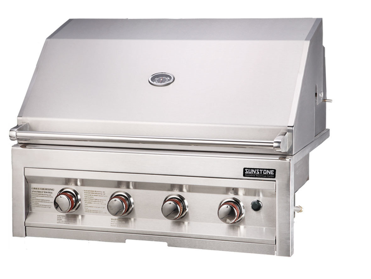 "SUNSTONE 4 Burner Grill w/lights 34"" - Item No. SUN4B"