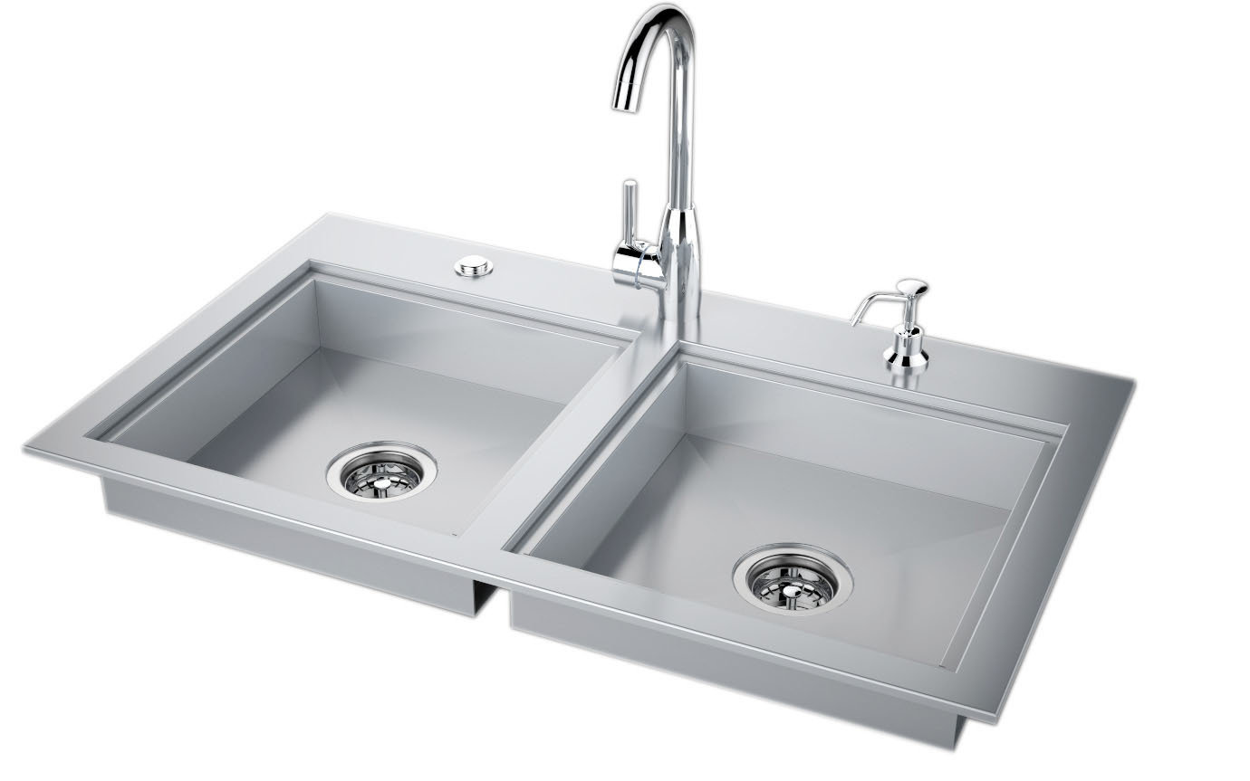 "37"" ADA Compliant Double Sink with Covers & Hot/Cold Faucet Item No.ADASK37"