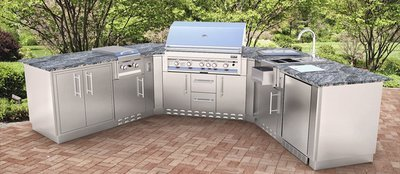 The Granada, U-Shape Cabinet Island w/Grill & Components  - Item No. SCIU01
