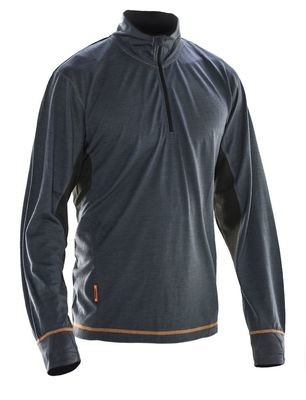 Sweater Dry-Tech Merinowolle grau / schwarz
