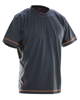 T-Shirt Dry-Tech Merinowolle grau / schwarz