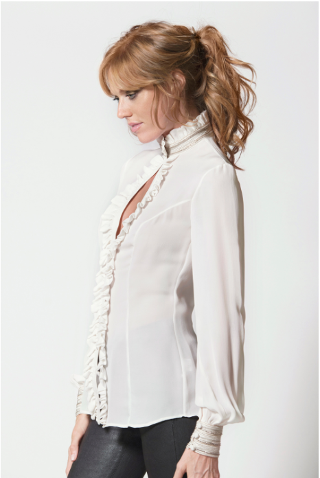 Embroidered Ruffle Shirt 1707