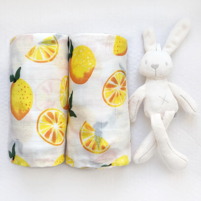 Муслиновая пеленка (бамбук) «Лимоны»