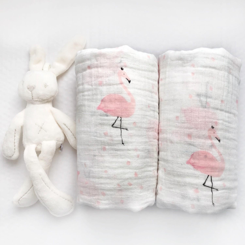 Муслиновая пеленка «Нежные фламинго»