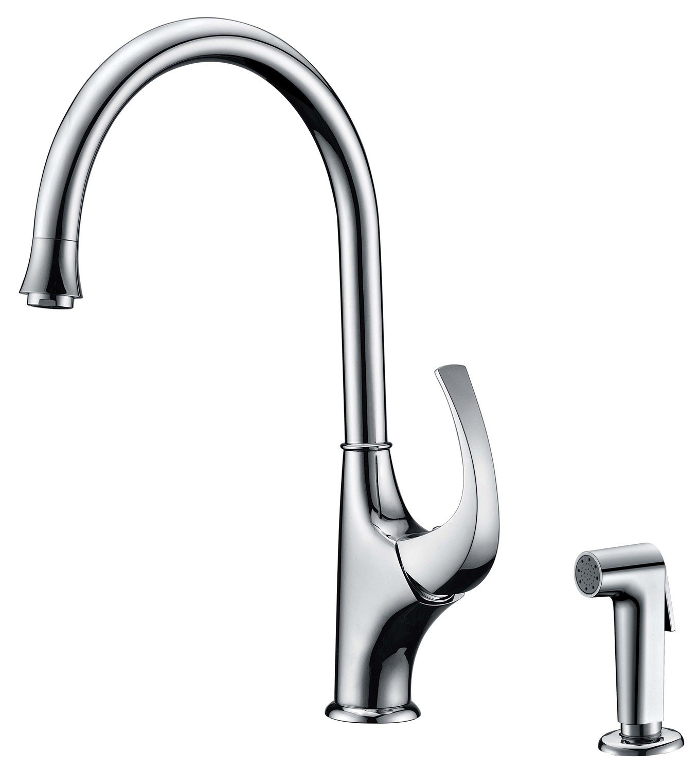 Single-handle kitchen faucet with side-spray
