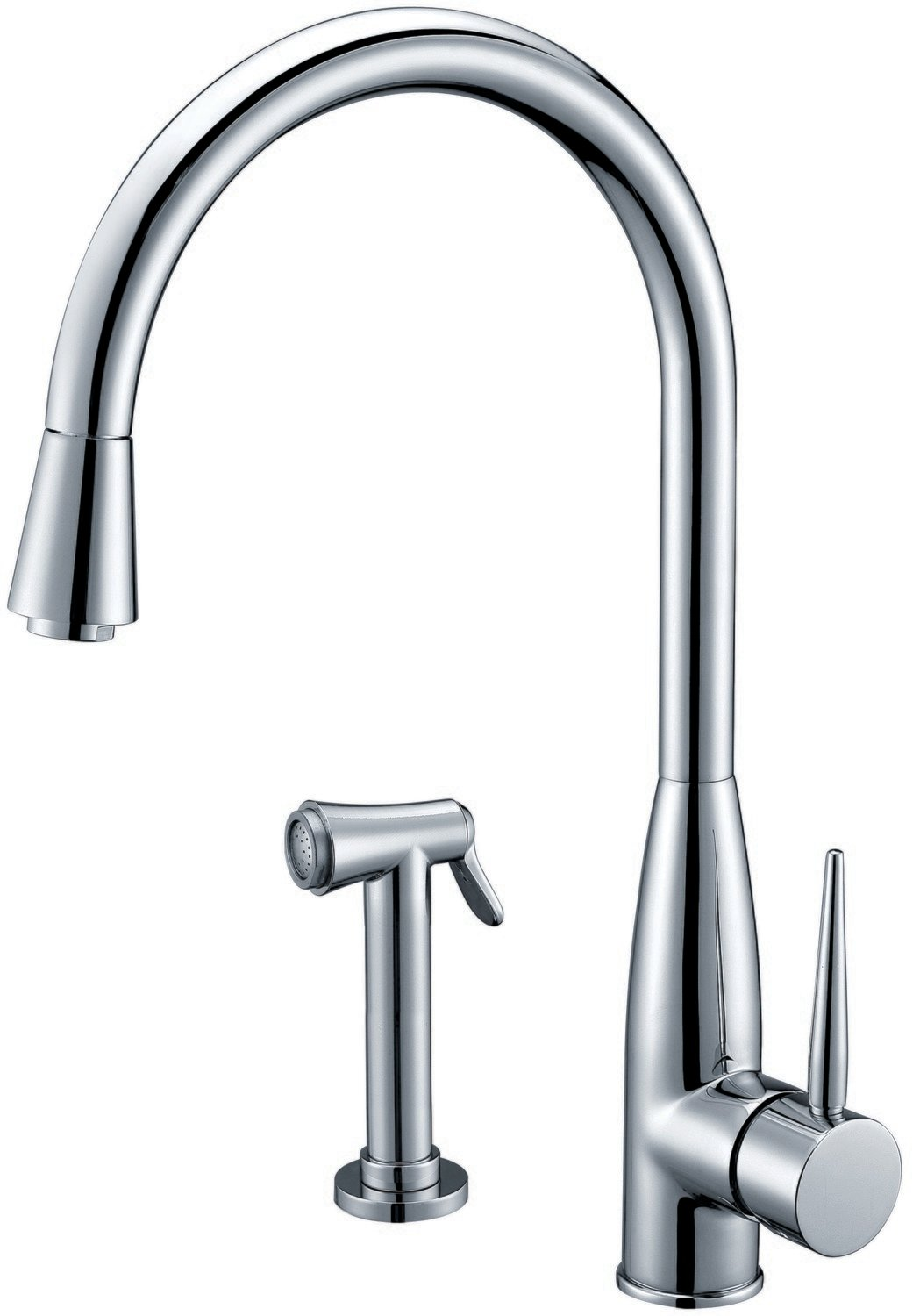 Single-lever sink mixer with side spray