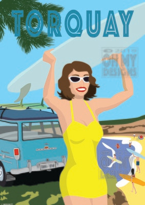 Torquay - Beach Surfer Girl