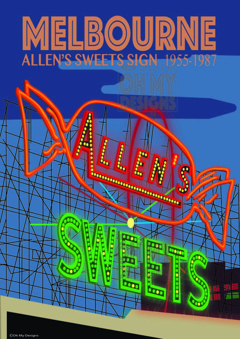 MELBOURNE - Allens Sweets Sign ME-AS