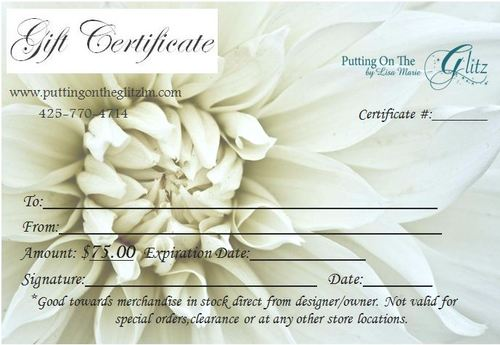 Gift Certificate- $75.00
