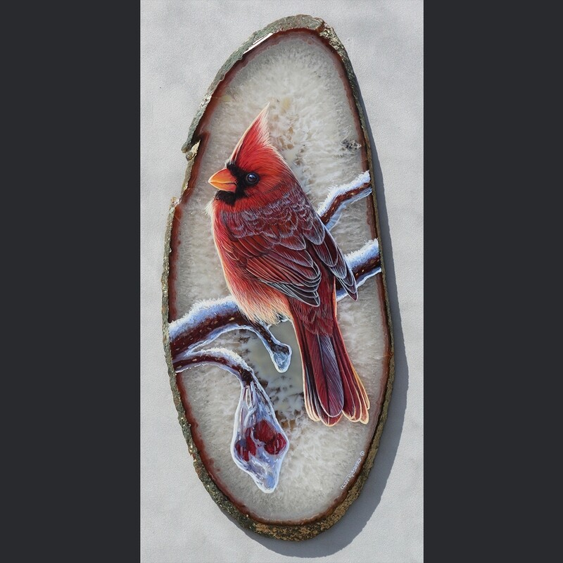 Red Winter  - Acrylic on Agate