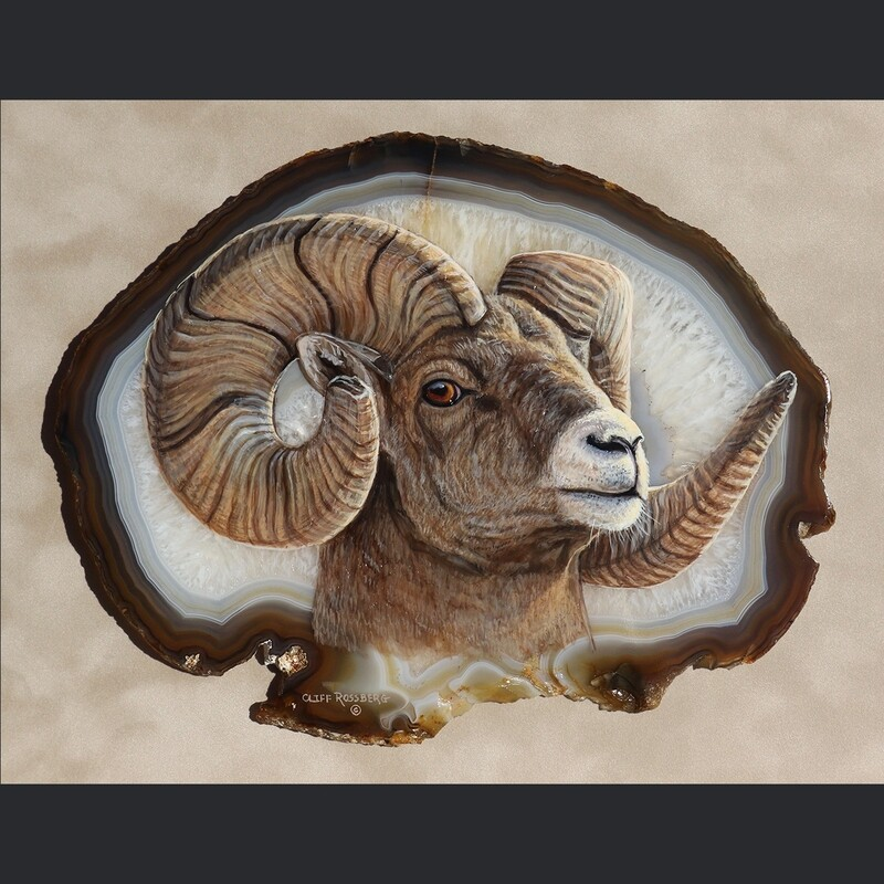Mr Big Horns!  - Acrylic on Agate