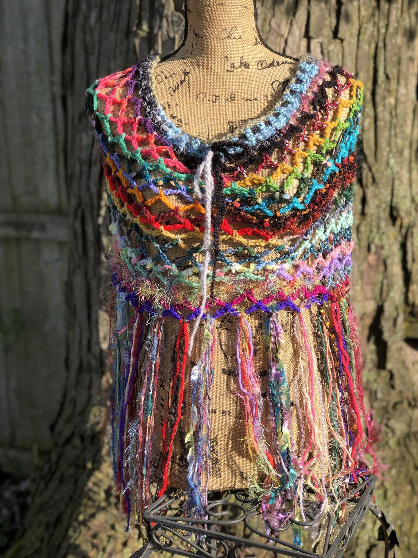 Multicolor Fringe Poncho