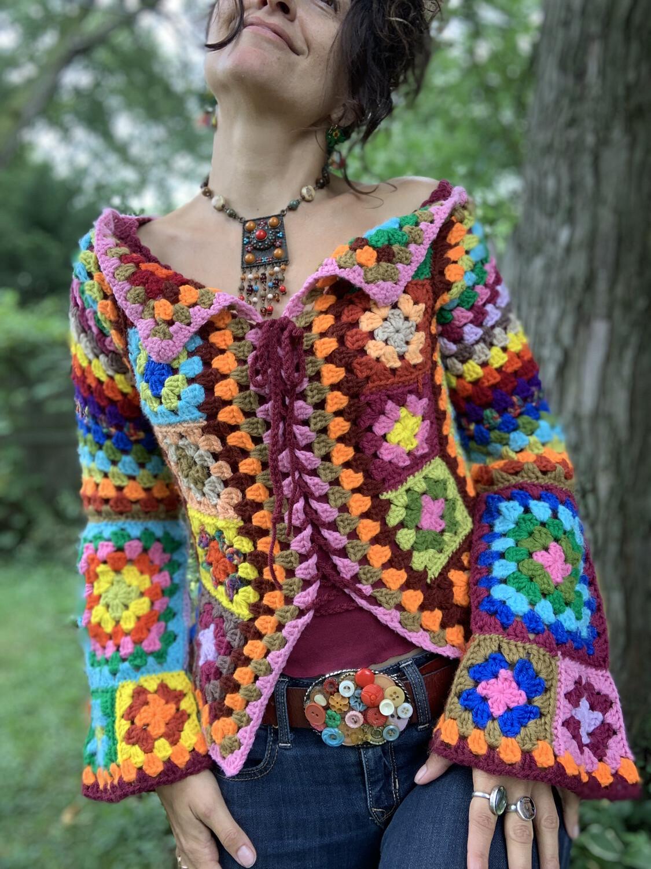 Boho Granny square Sweater Jacket