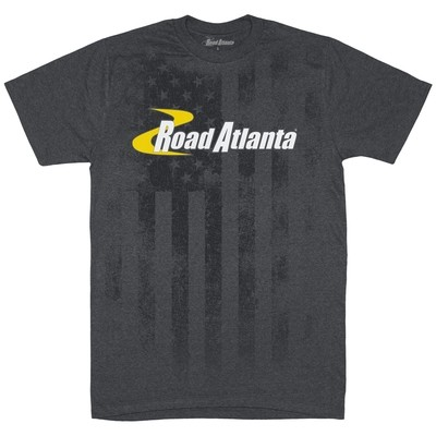 Road Atlanta USA Flag Design Tee - Charcoal