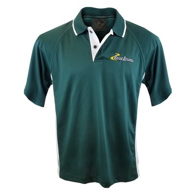 Road Atlanta Men's Polo- Forest Green/White