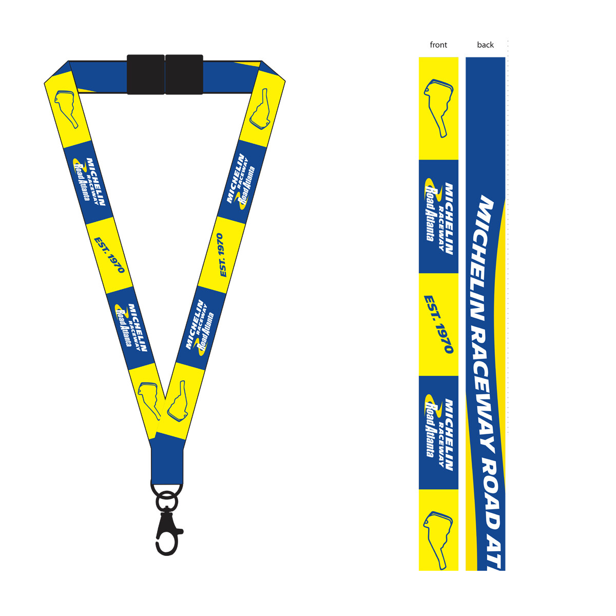 Michelin Raceway Road Atlanta Lanyard - Blue/Gold With Two-sided Print