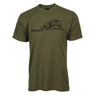 Road Atlanta Vintage Logo Tee - Military Green