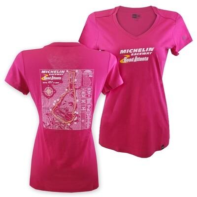 Michelin Raceway Road Atlanta Ladies Track Blueprint Tee - Pink