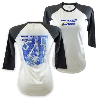 Michelin Raceway Road Atlanta Ladies 3/4 Sleeve Track Blueprint Tee - White/Heather Grey