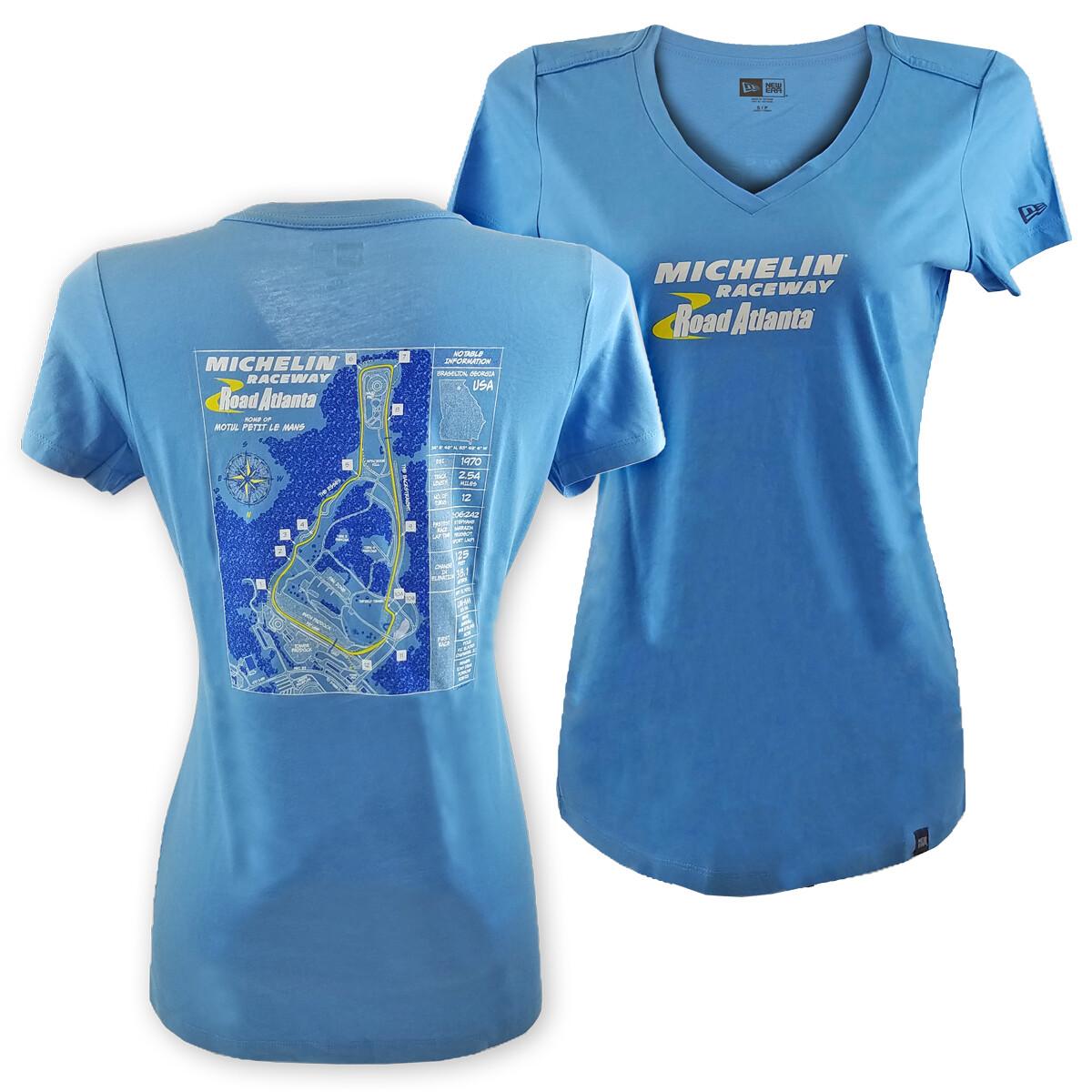 Michelin Raceway Road Atlanta Ladies Track Blueprint Tee - Sky Blue