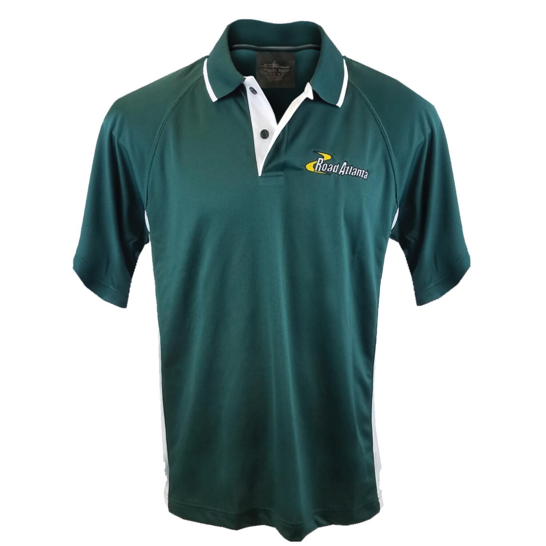 Mens RA Golf Shirt- Forest/White