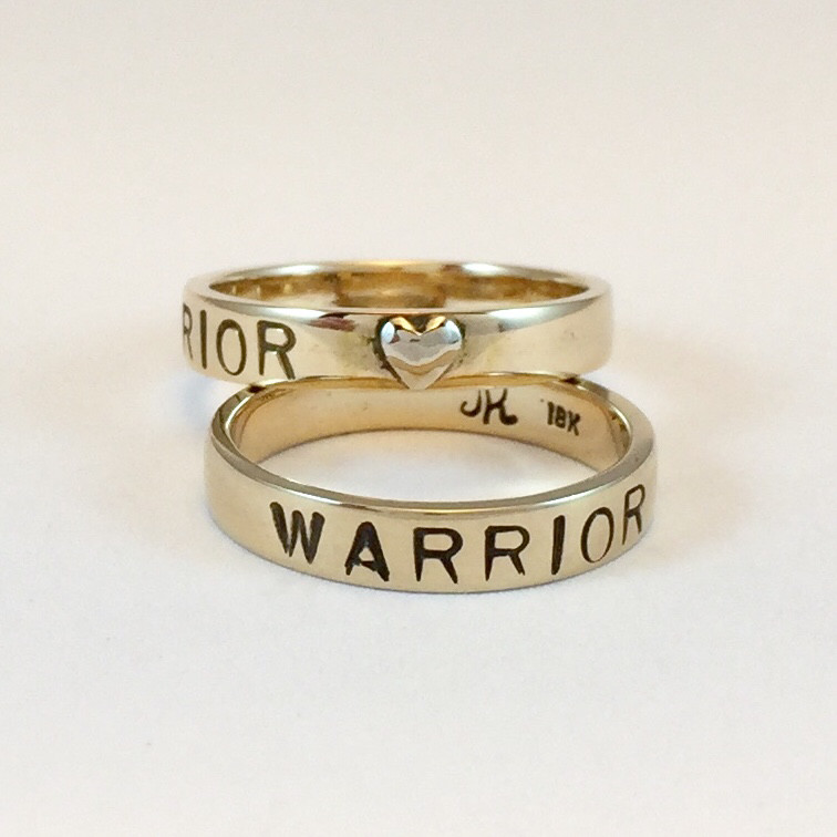 Warrior Ring 18k Royal yellow gold with white gold heart 4mm (thin) band