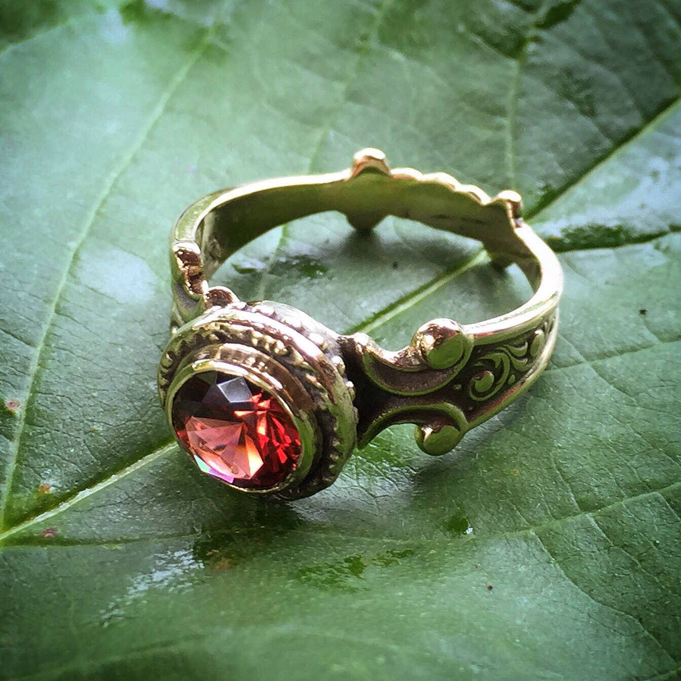 Garden Series Garnet Cocktail Ring