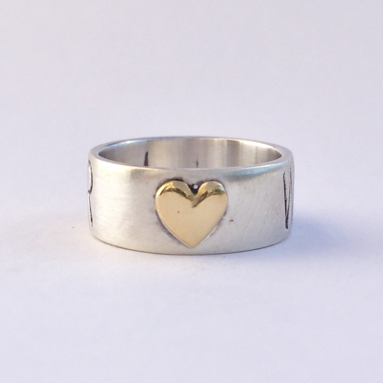 Warrior Ring Sterling Silver with 18k heart of gold 8mm (wide) band