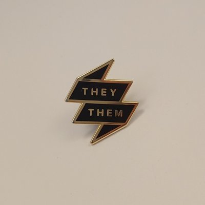 Pronoun Badge - They/Them Black