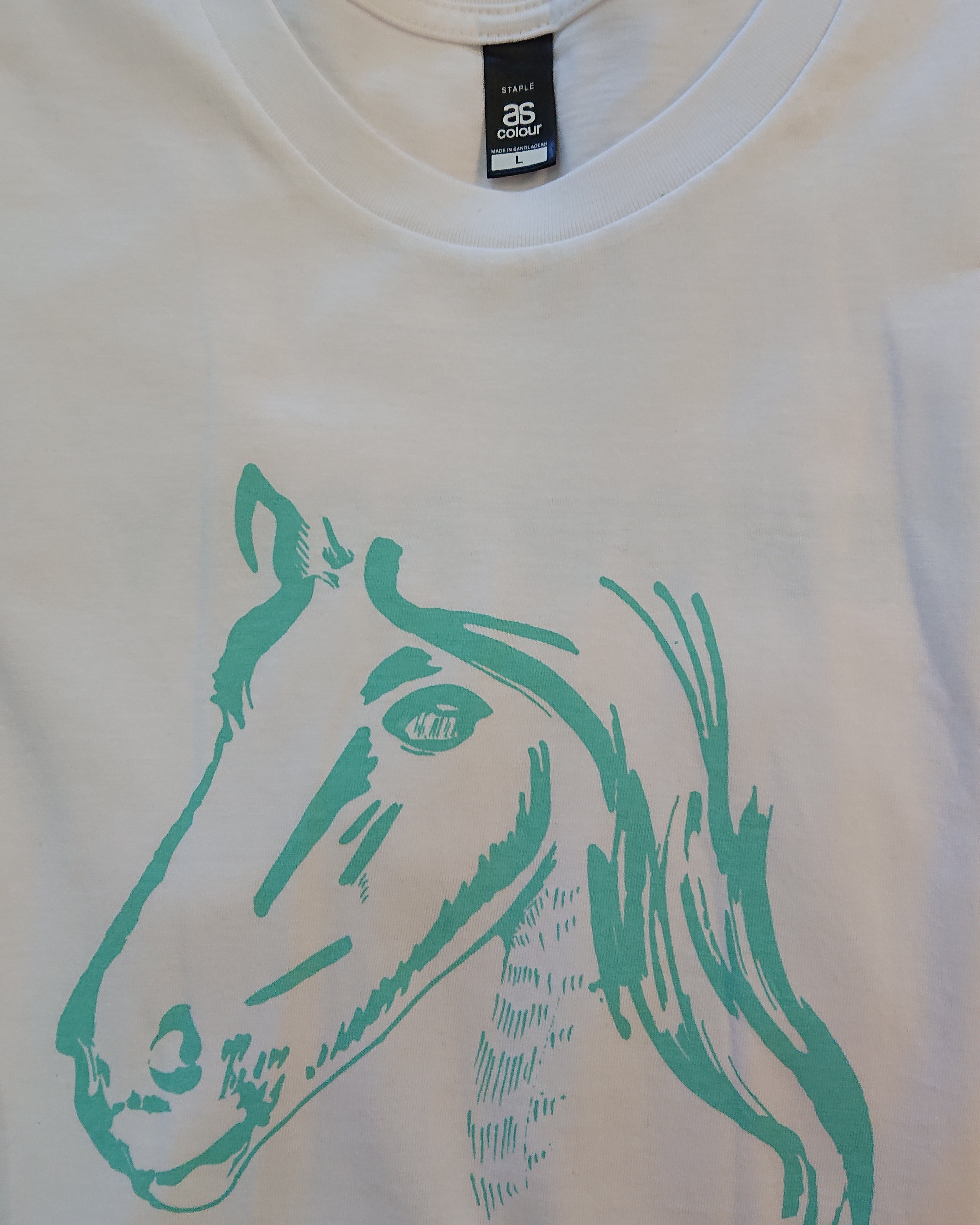 Show Ponies T-shirt - White and Teal - Small 00001