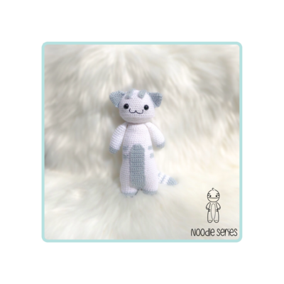Cat Stuffed Animal -White with Blue